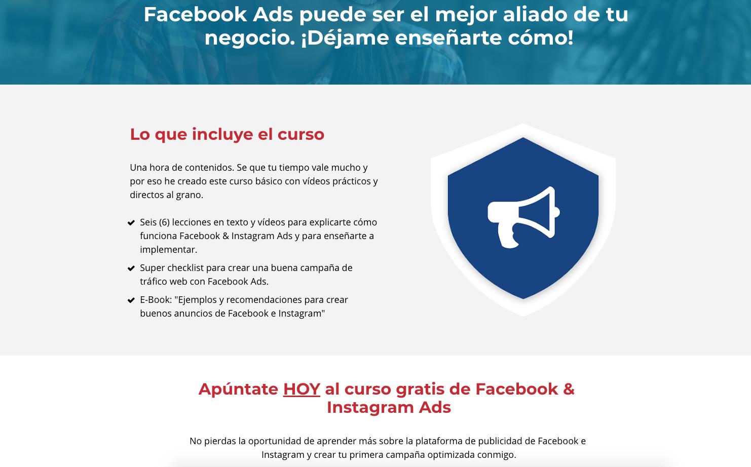 Curso de iniciación en Facebook Ads en el sitio web de Vilma Nuñez