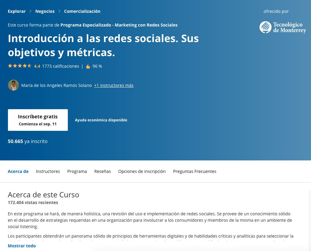 Curso de marketing para la introducción a las redes sociales de Coursera