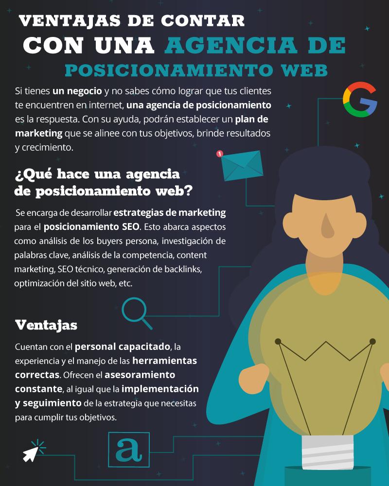 Infografía de ventajas de contar con una agencia de posicionamiento web.