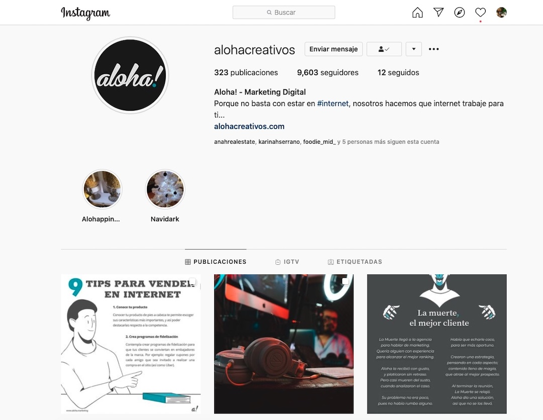 Cuenta de instagram de Aloha Marketing