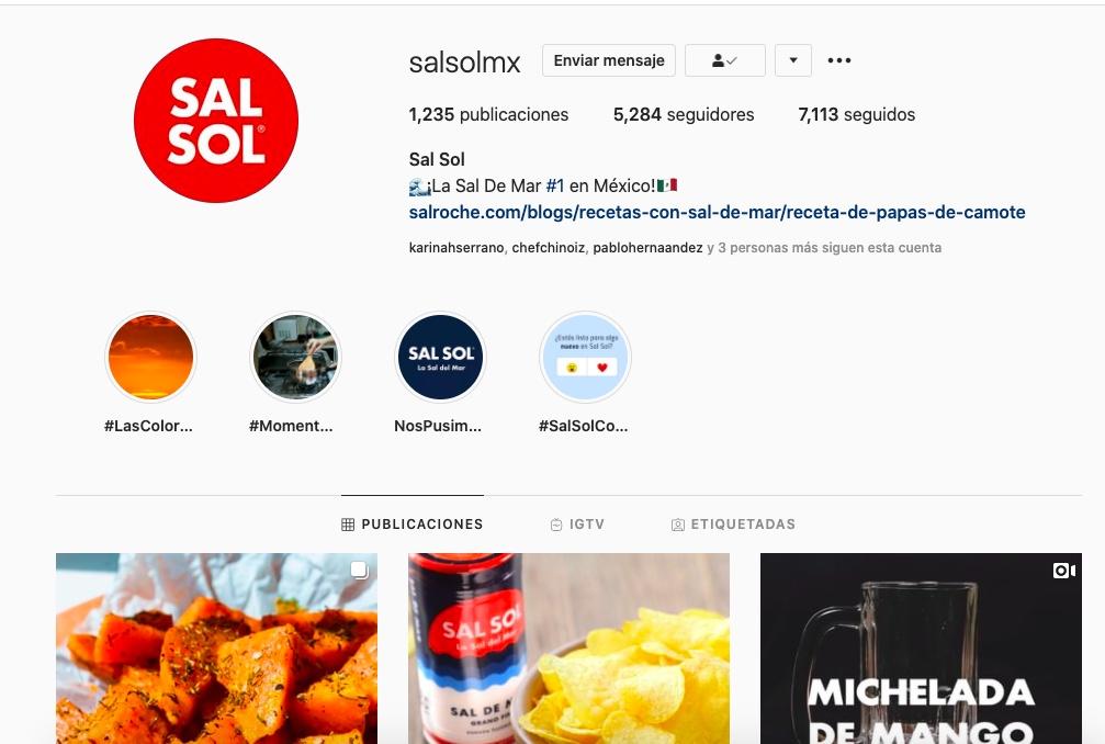 Cuenta de instagram de Sal Sol