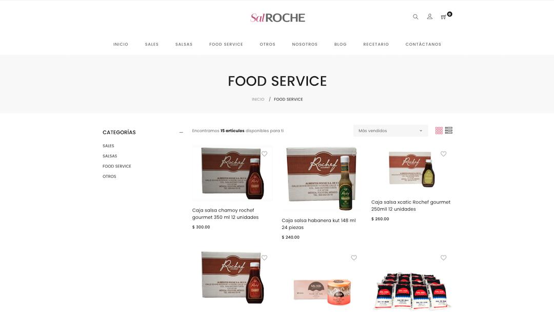 Ejemplo de sitio web de e-commerce de Sal Roche.