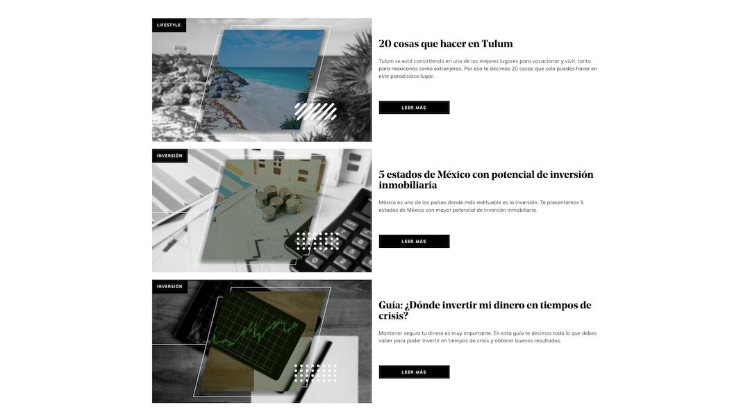 Ejemplo de una página web tipo blog.