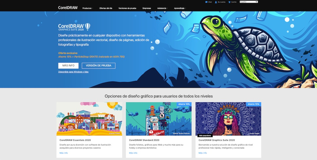 Captura de pantalla de la página web de CorelDRAW.