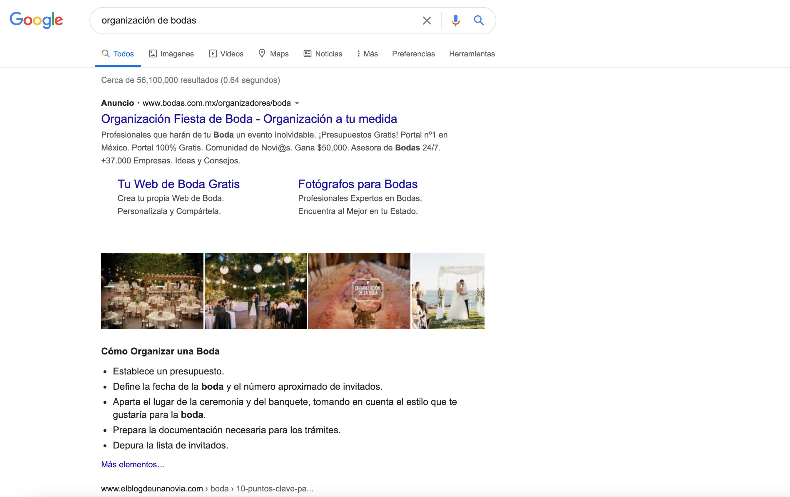 captura de búsqueda en google para resultados con anuncios