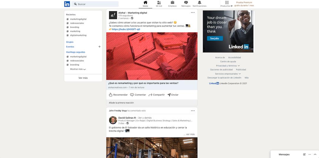 Captura de pantalla de la sección de inicio de LinkedIn.