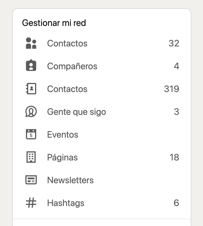 Contactos de LinkedIn.