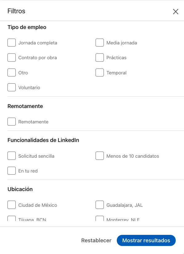 Filtro de búsqueda de empleo en LinkedIn.