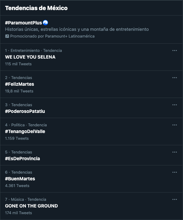 Captura de pantalla de las tendencias de México en Twitter.