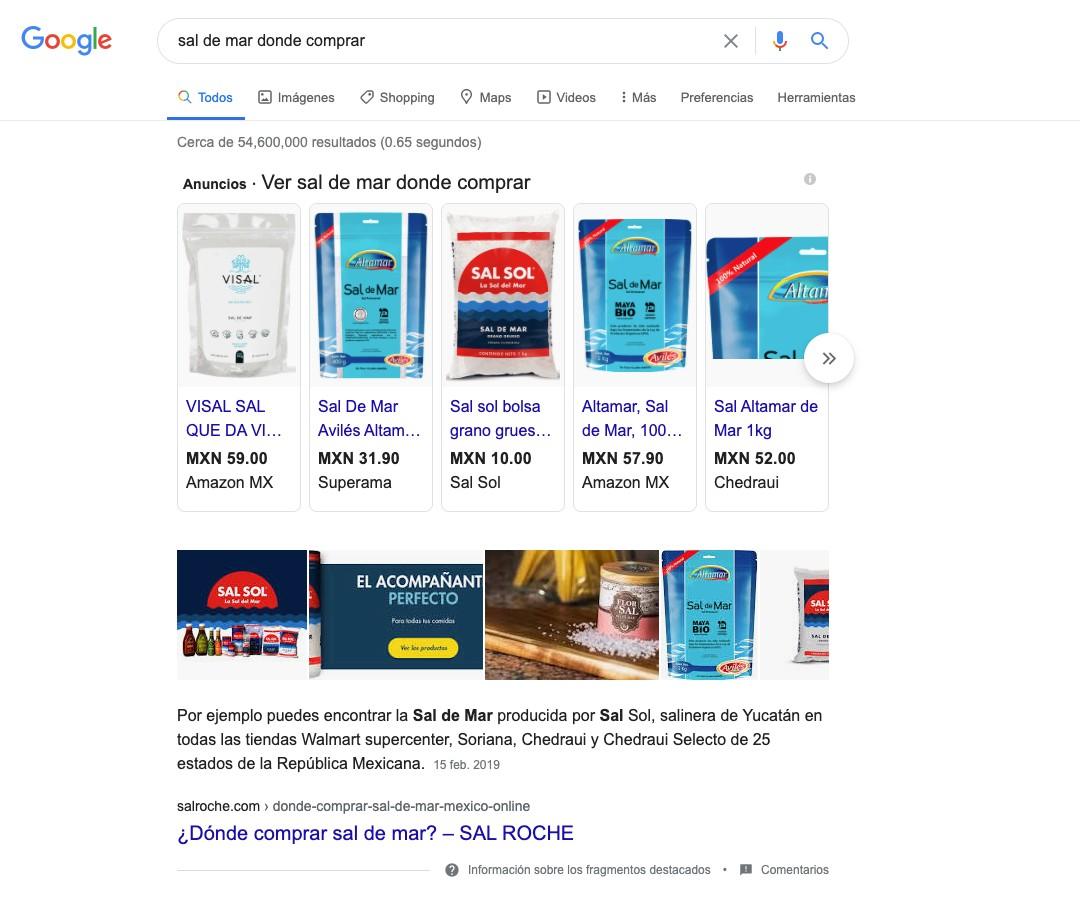 Ejemplo de búsqueda en Google.