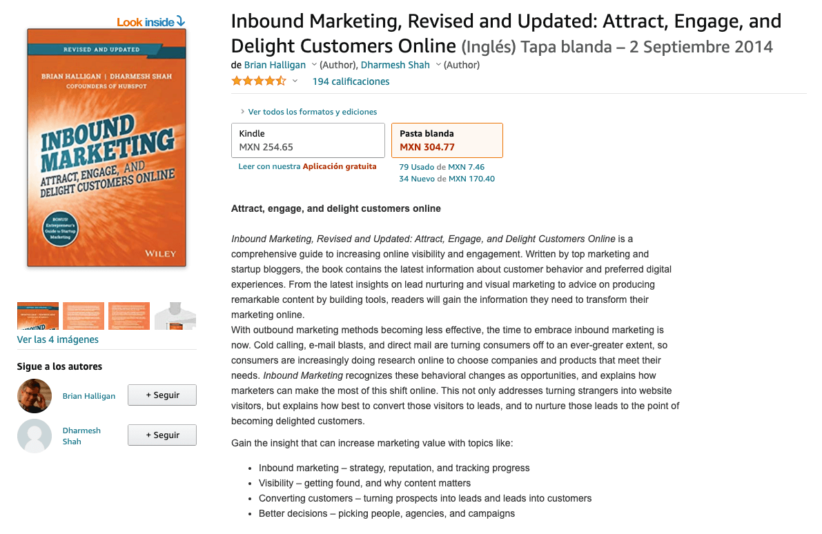 Libro: Inbound Marketing: Attract, Engage, and Delight Customers Online.