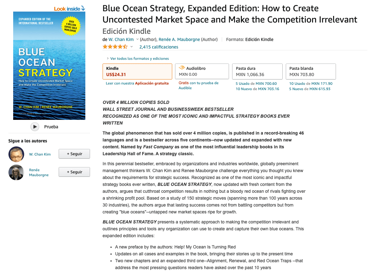 Libro: Estrategia del océano azul.