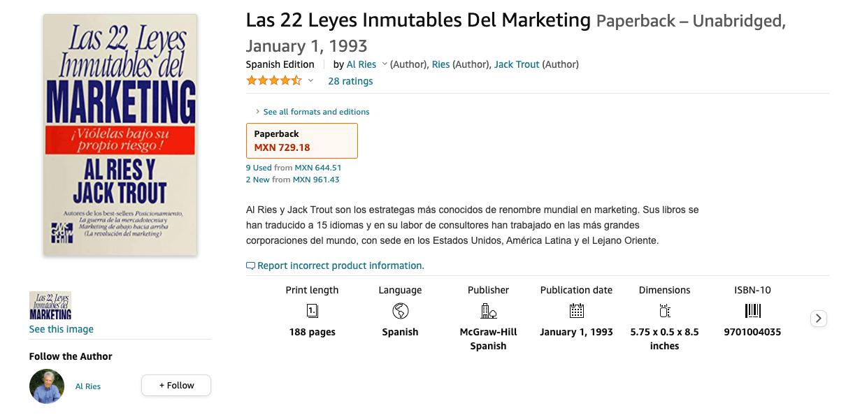 Libro: Las 22 leyes inmutables del marketing.