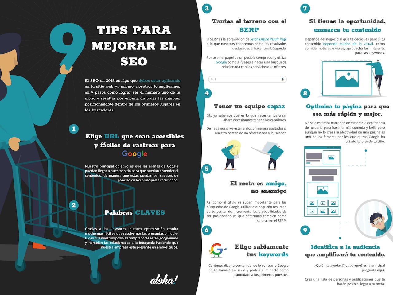 Infografía de tips de SEO.