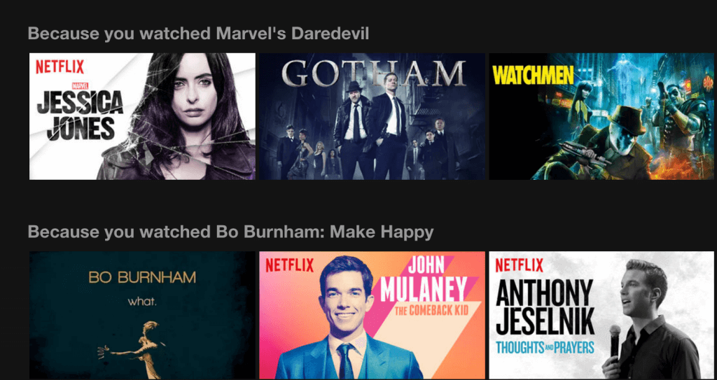 Sugerencias de Netflix.