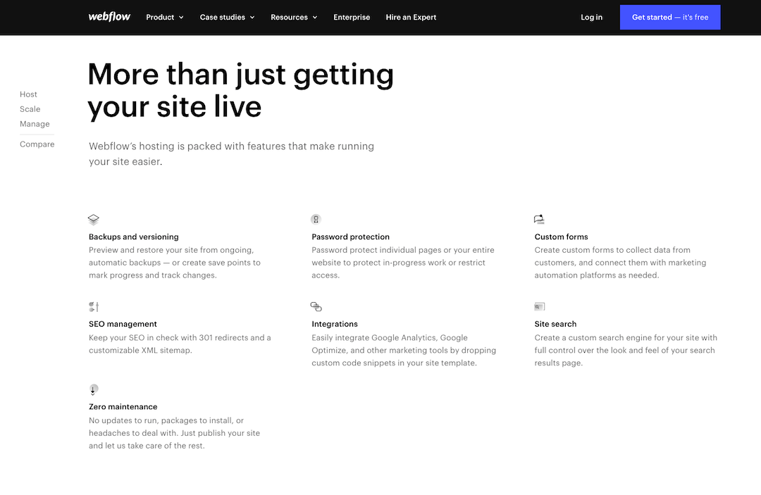 Sitio web de Webflow hosting.