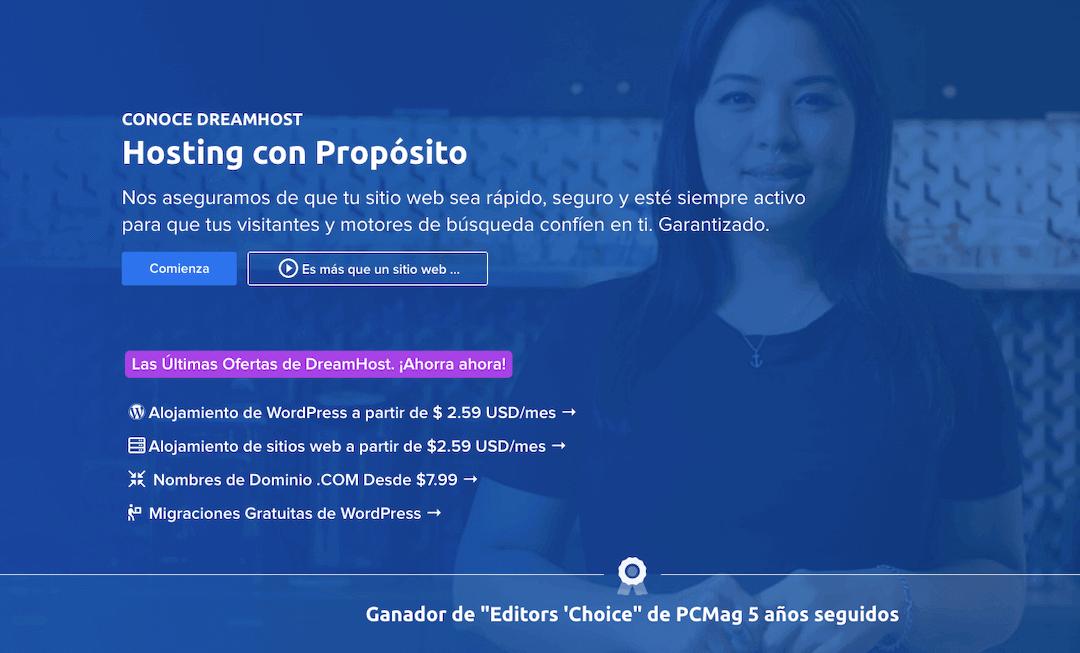 Sitio web de Dreamhost.