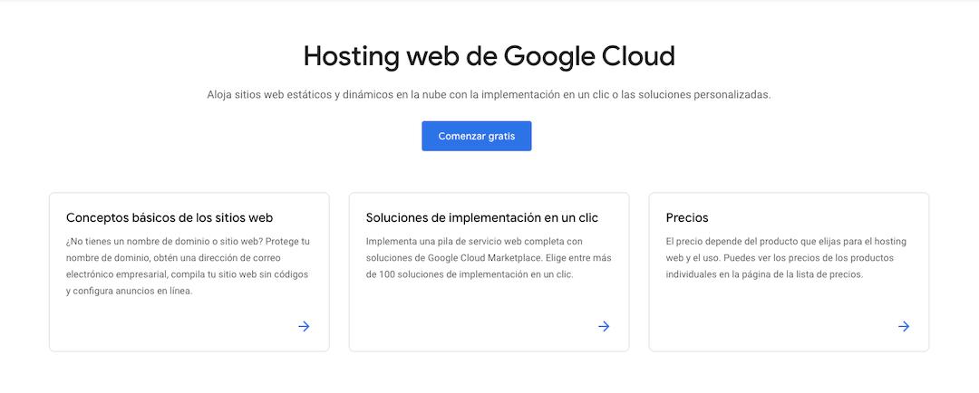 Sitio web de Google Cloud.