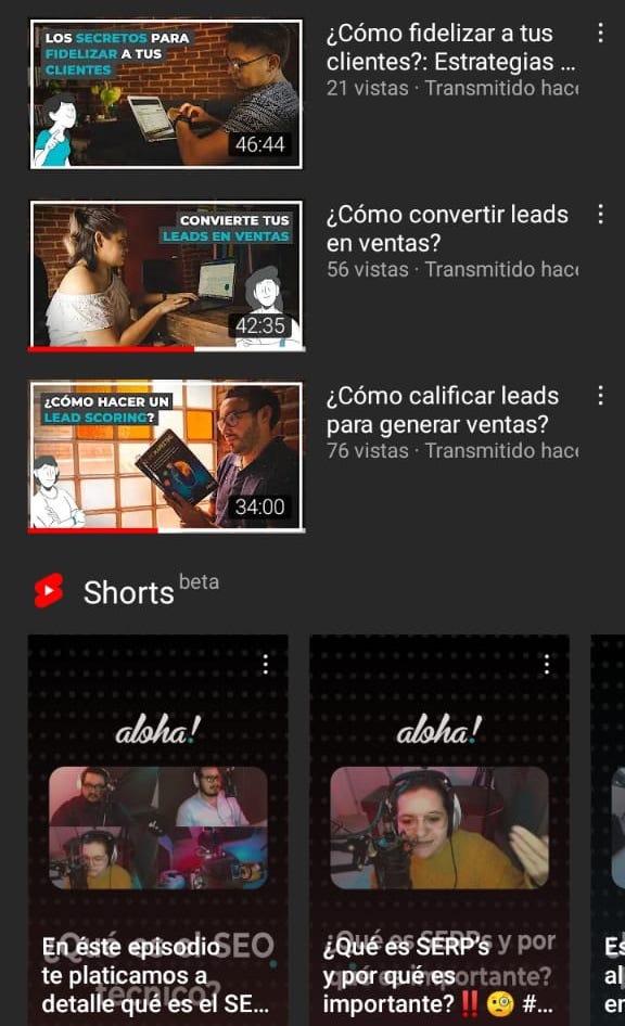Ejemplo de imágenes de YouTube y Shorts