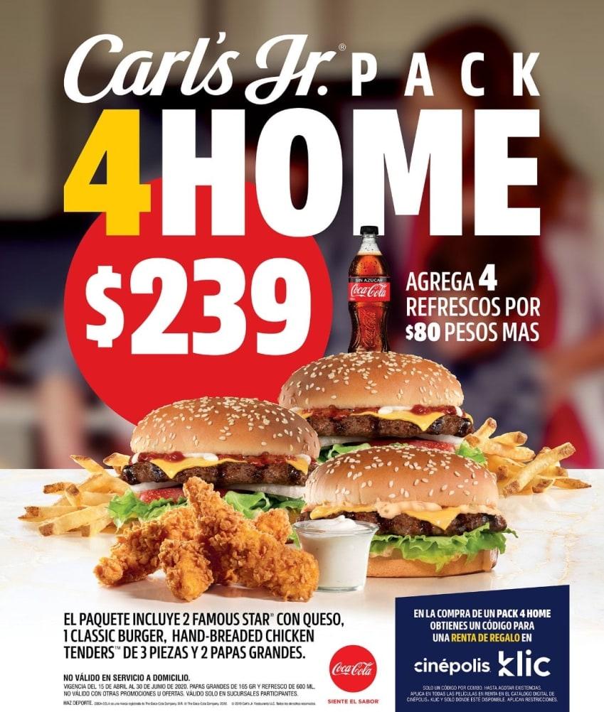 Anuncio de venta fuerte de Carl's Junior donde se promociona el paquete 4 Home