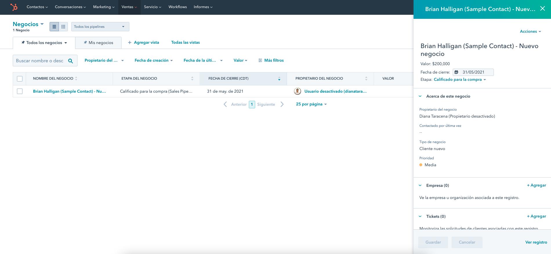 Captura de HubSpot Sales Hub