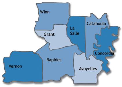 Map of Avoyelles, Catahoula, Concordia, Grant, La Salle, Rapides, Vernon and Winn Parishes in Louisiana