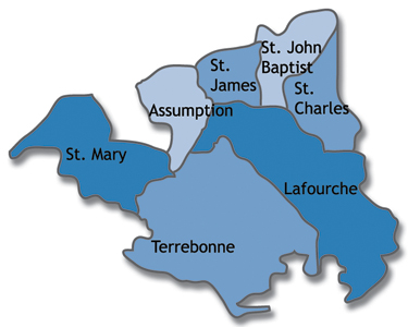 Map of Assumption, Lafourche, St. Charles, St. James, St. John the Baptist, St. Mary and Terrebonne parishes in Louisiana