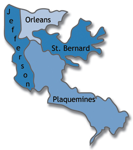 Map of Jefferson, Orleans, Plaquemines and St. Bernard parishes in Louisiana.