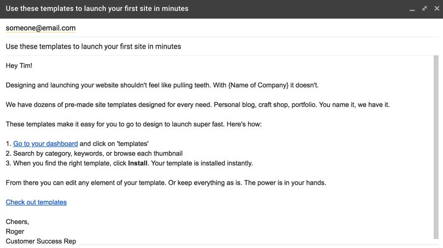 Customize drip email to individual