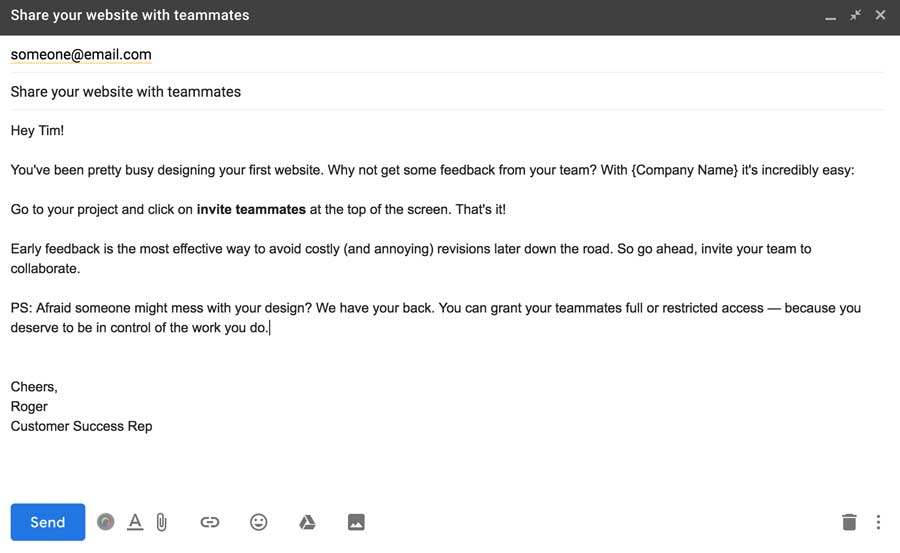 Email triggered action customer action