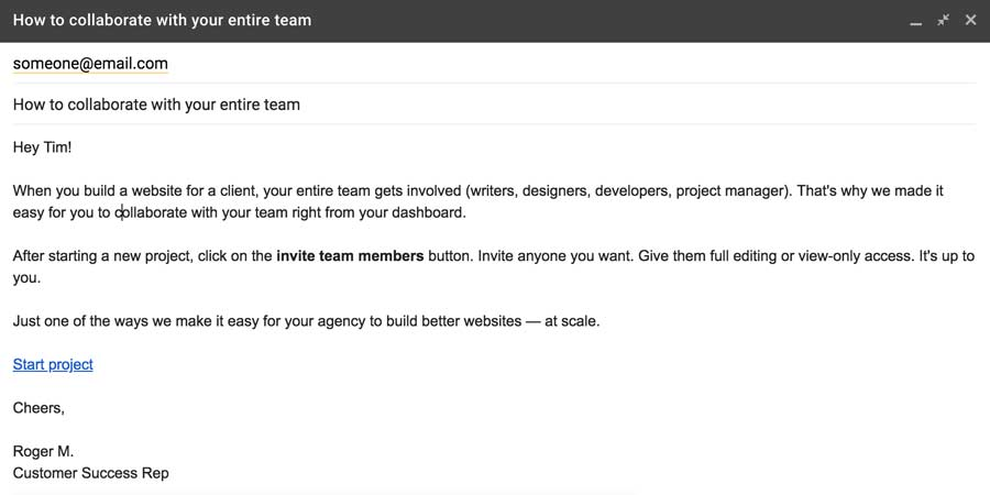 Customize drip email to agency