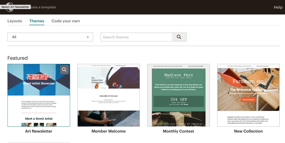 Mailchimp Pre-made theme examples for email marketing