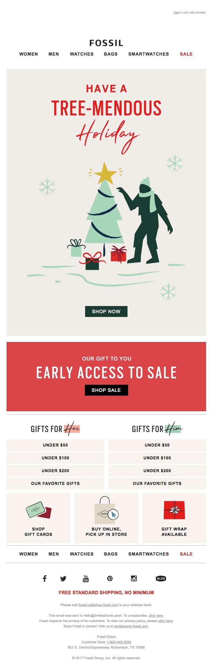 Heavily designed e-commerce email for a frashion brand