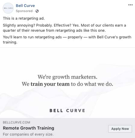 FB retargeting ad example