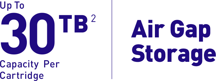 Up to 30 TB[2] capacity per cartridge | Air Gap Storage