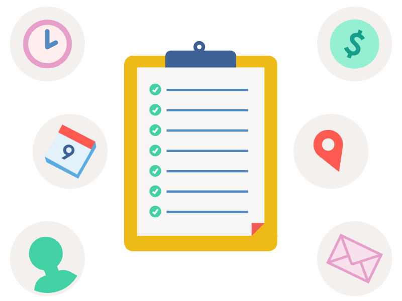 Illustration of a checklist with different icons floating around symbolizing the things to consider when planning camp.