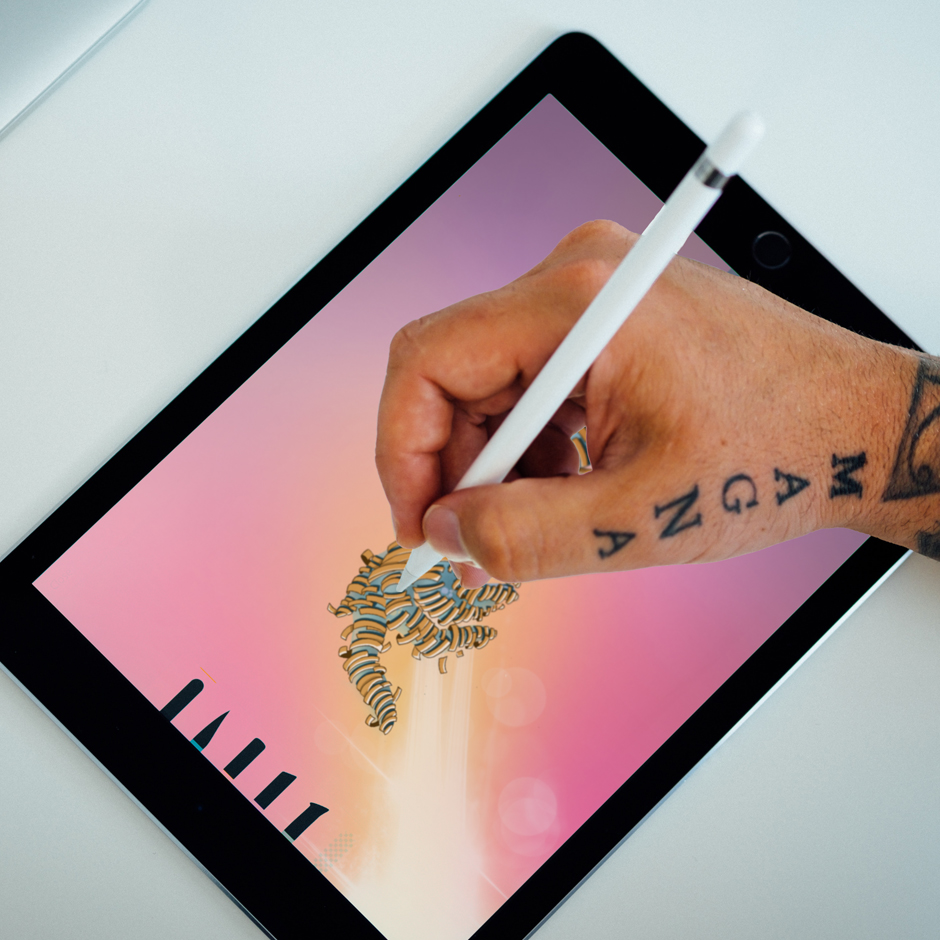 Designer using iPad Pro and Apple Pencil