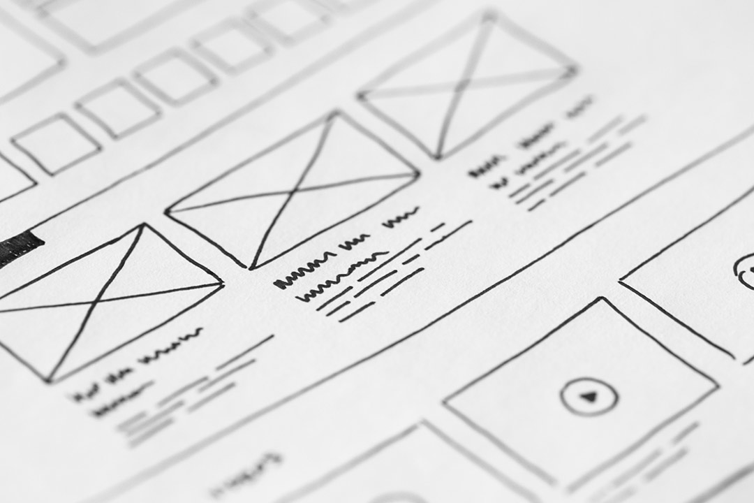 Hand drawn website wireframes