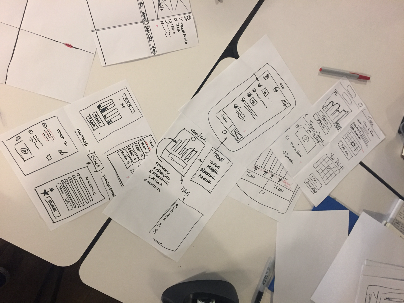 UX Design design studio sketches laid out on a table