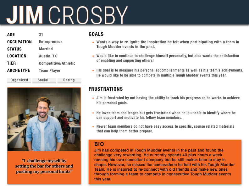 UX Design Primary Persona for User Research of Tough Mudder application