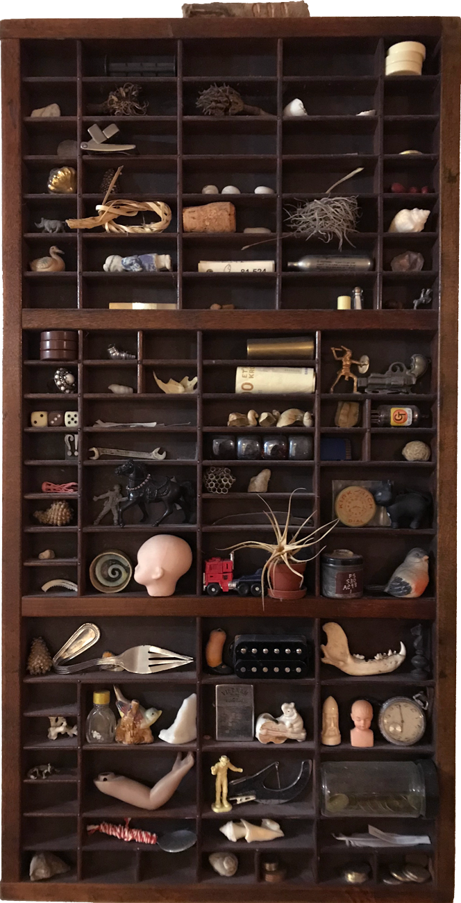 A Printer's Drawer containing various, unique objects owned and photographed by Mitchell Thieman