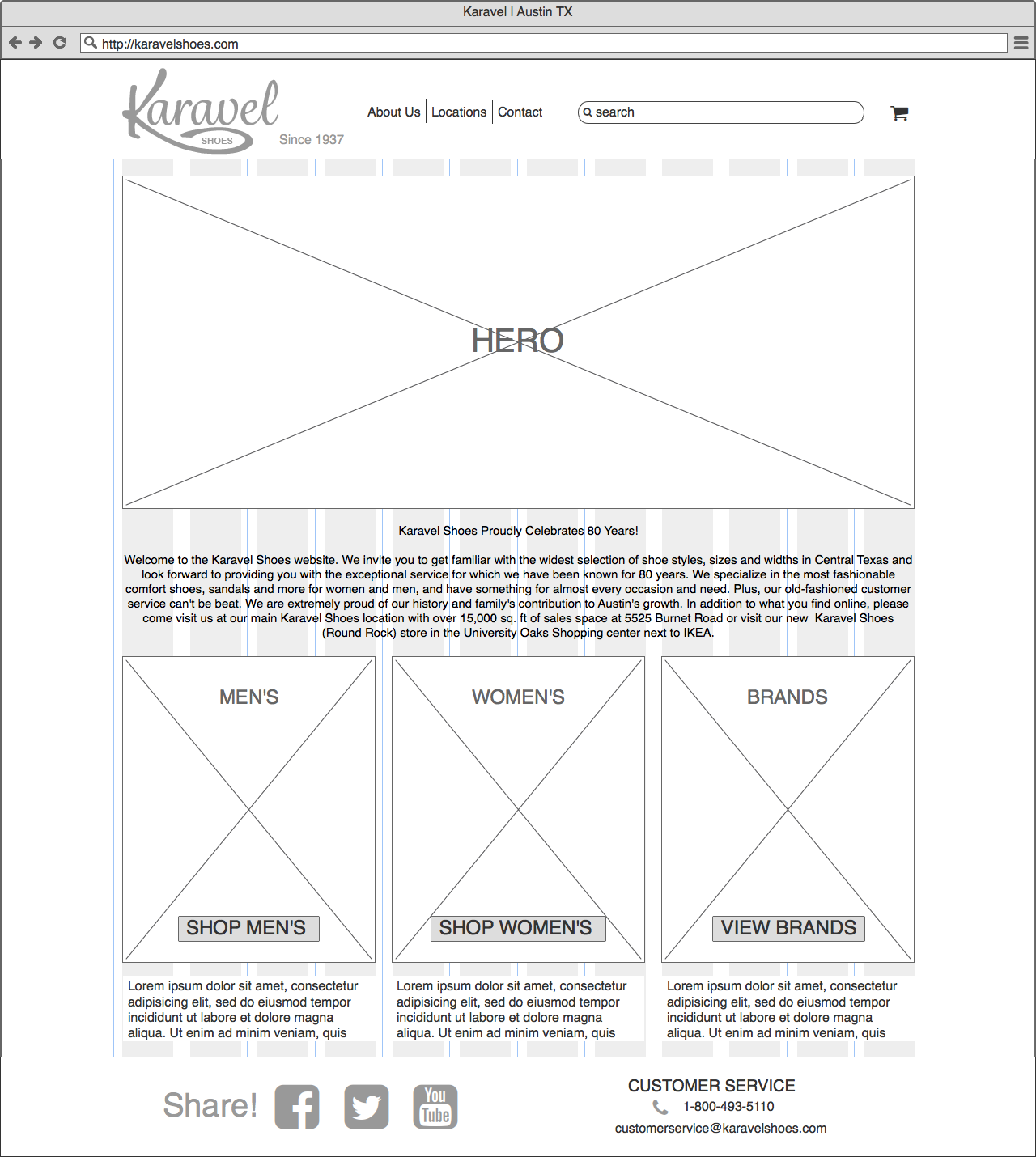 Wireframe of Landing Page for UX Design of e-commerce website done in Balsamiq