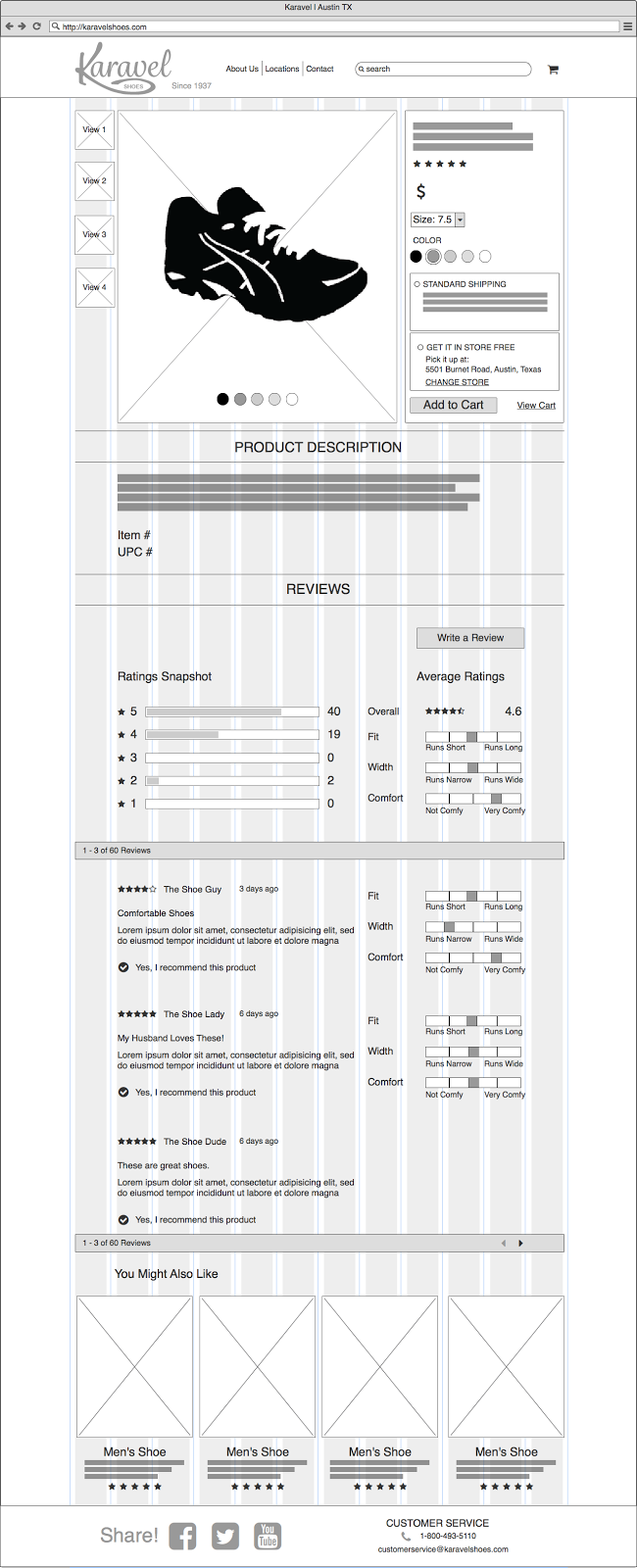 Low Fidelity Wireframe for UX Design of e-commerce site done in Balsamiq