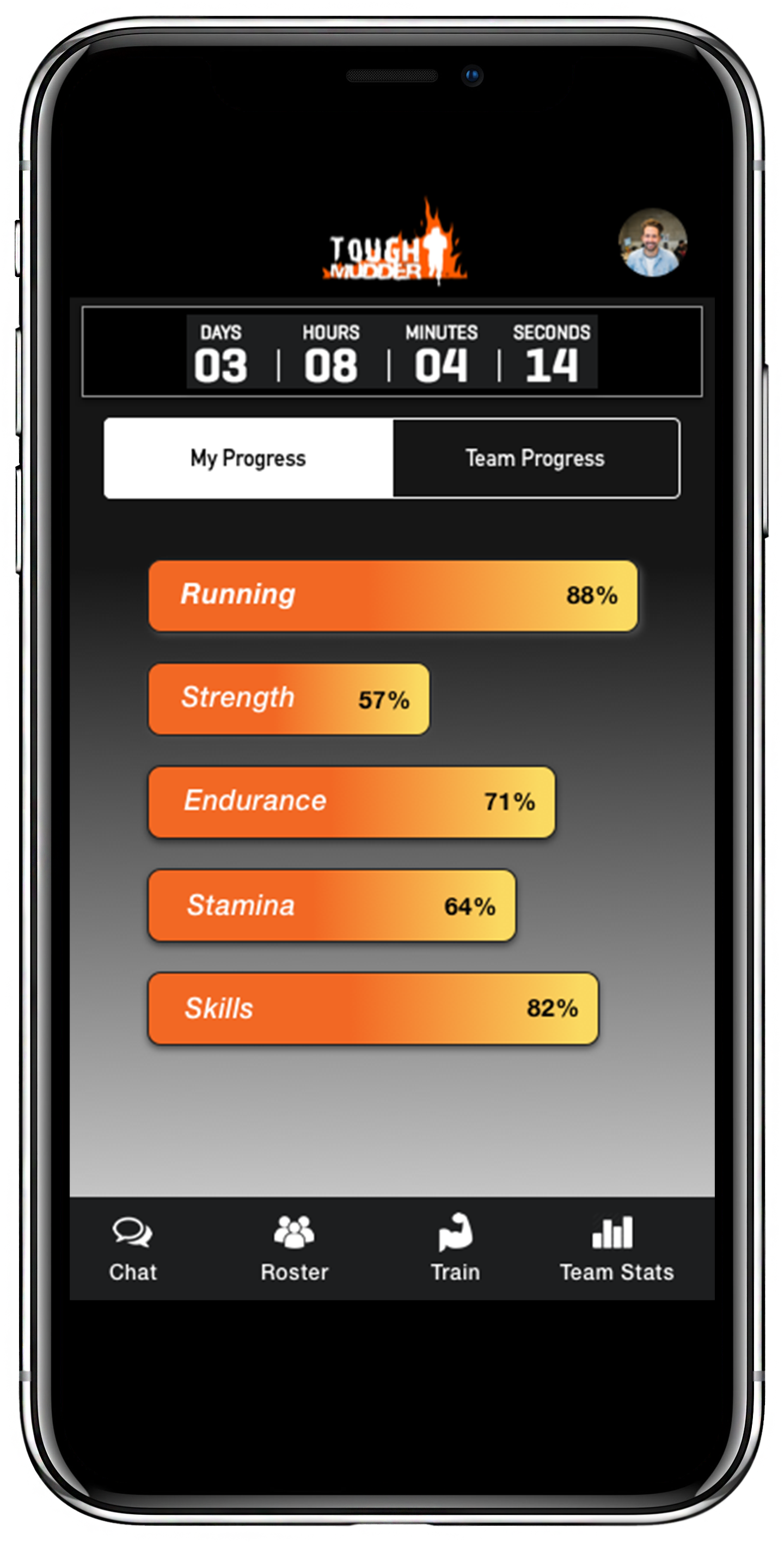 UX Design High Fidelity comp of mobile screen for Tough Mudder application