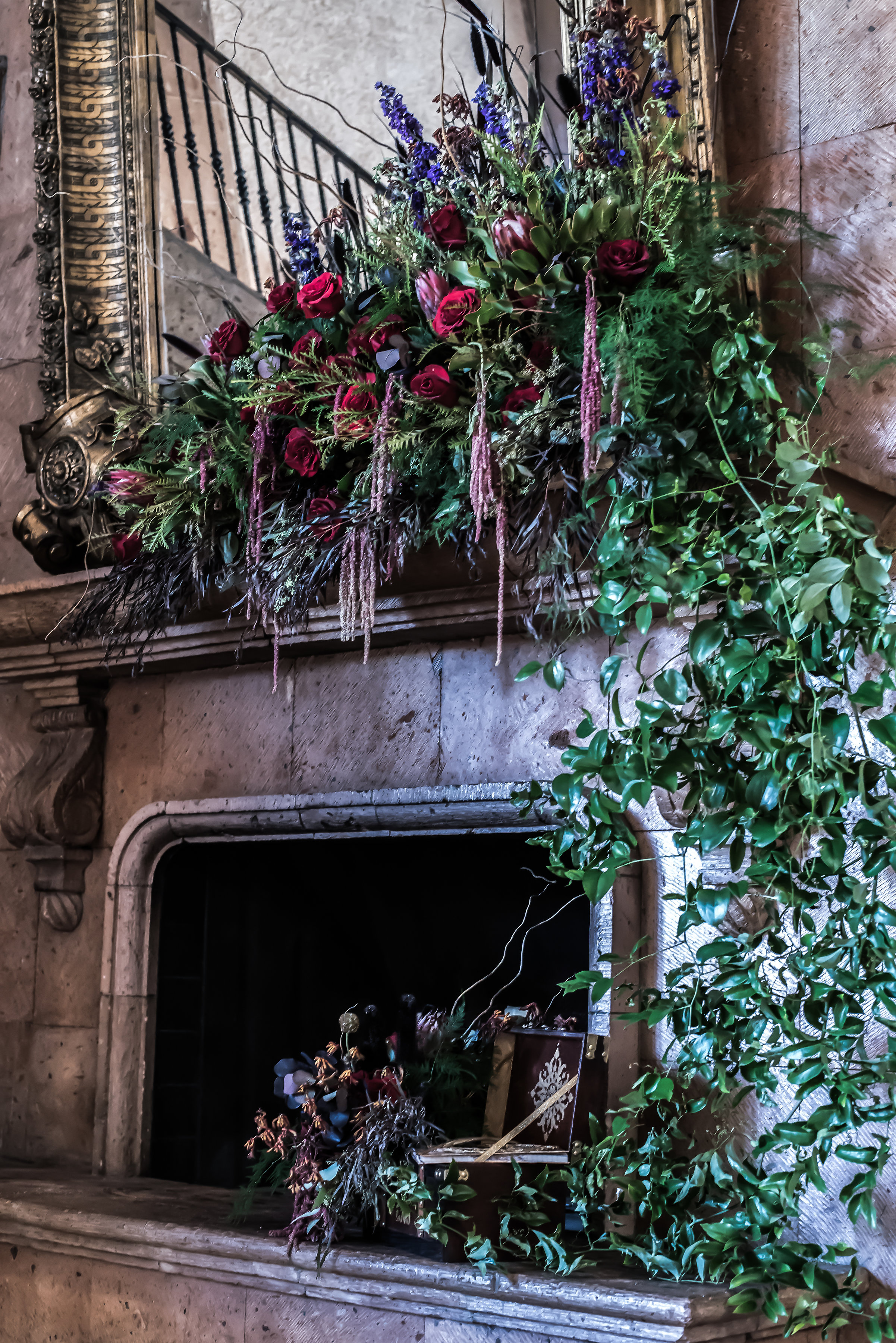 fireplace decor wedding flowers richmond wedding florist virginia