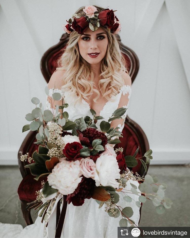 bridal bouquet burgundy flower crown richmond virginia wedding florist