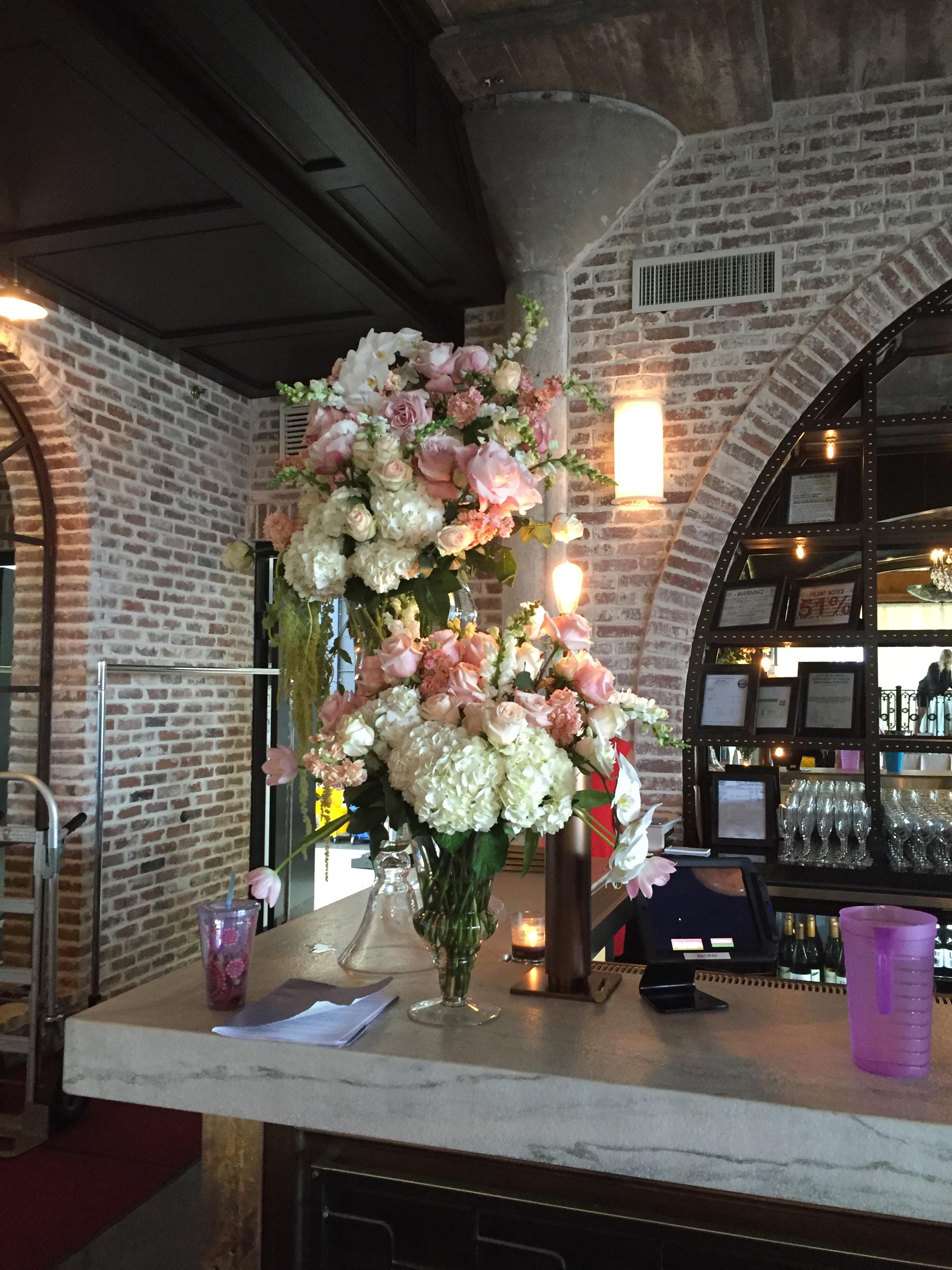 bar decor flower arrangements richmond virginia wedding florist