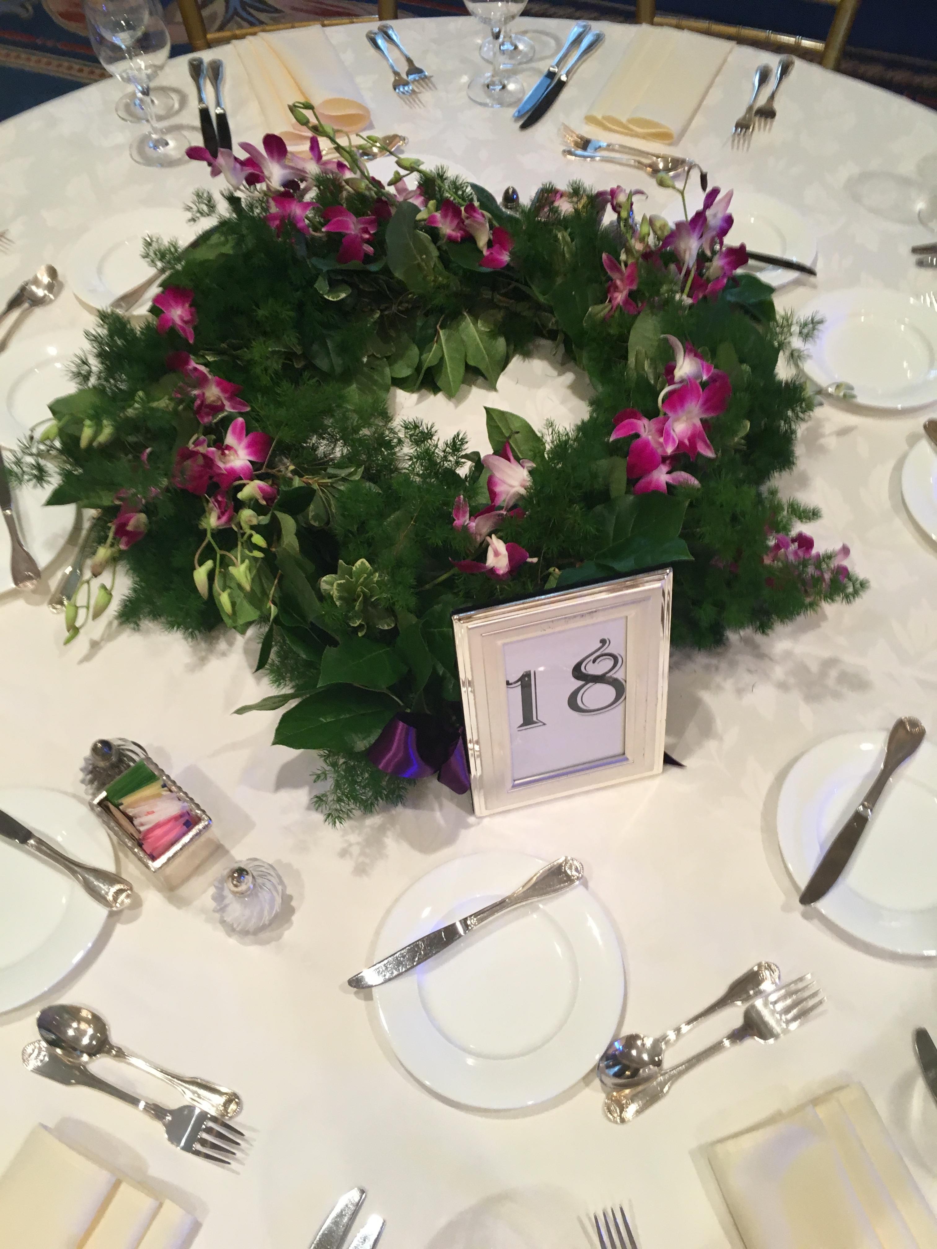 garland of flowers centerpiece wedding florist richmond virginia