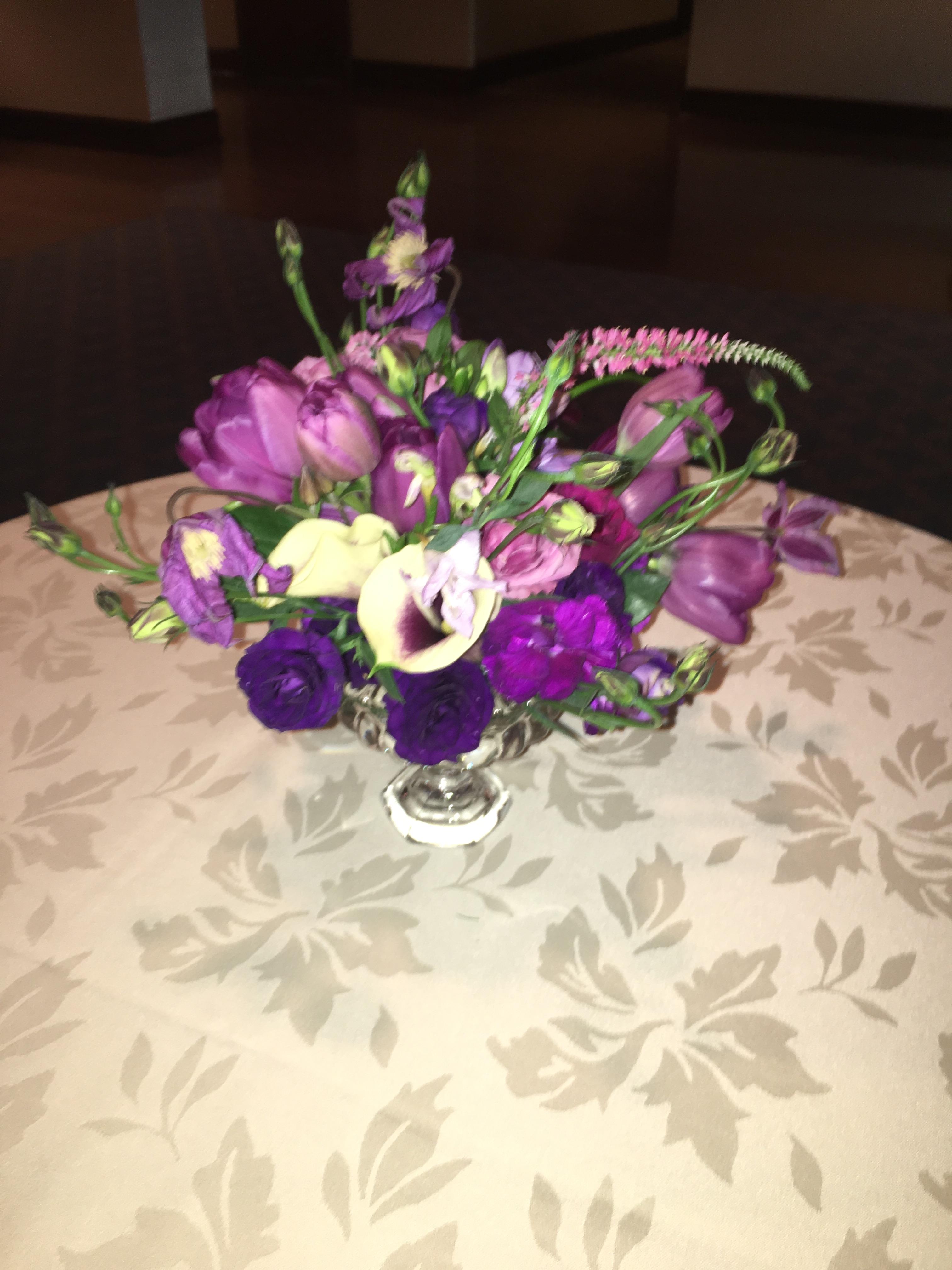 purple centerpiece wedding florist richmond virginia