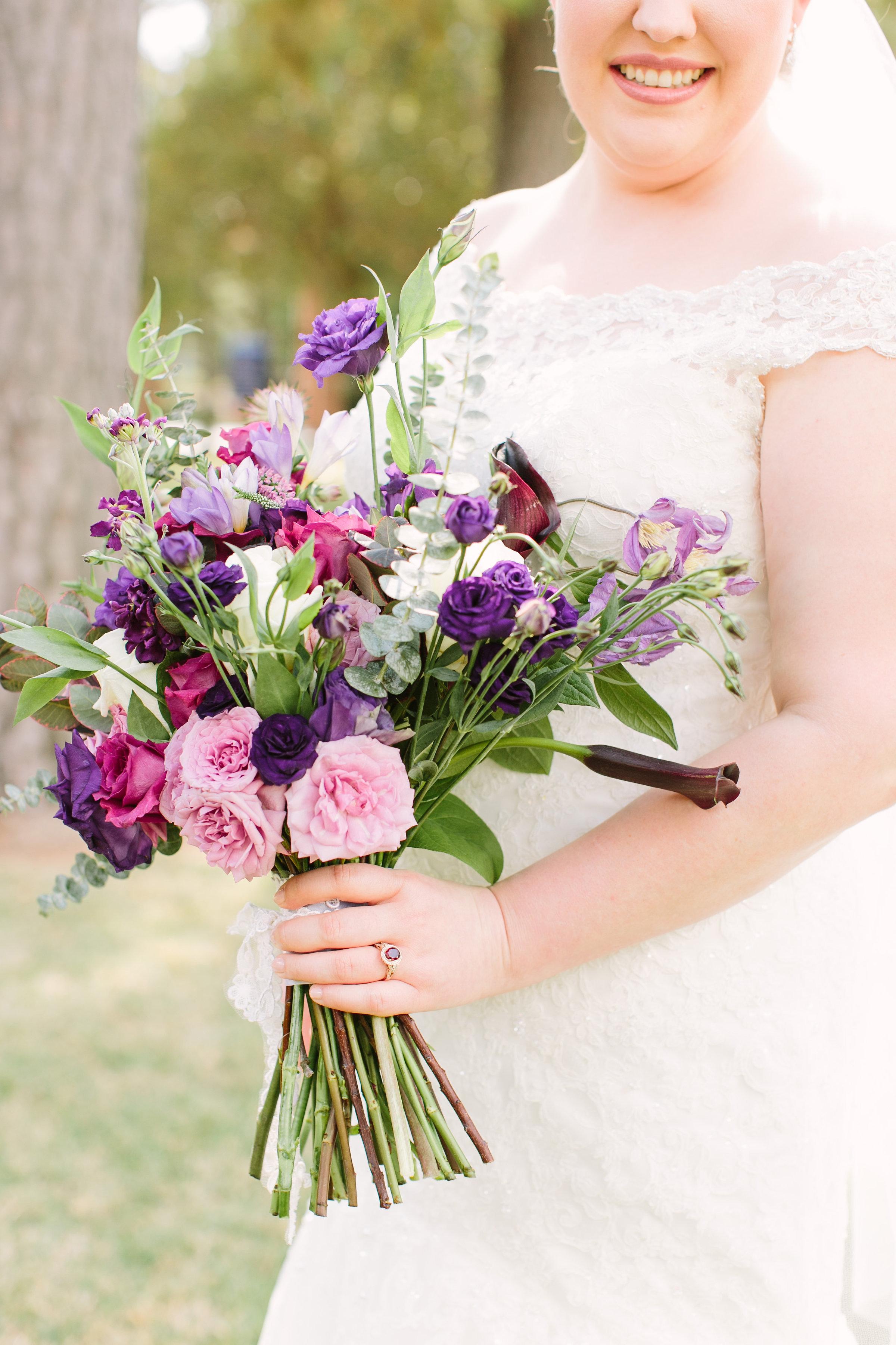 purple bridal bouquet richmond virginia wedding florist